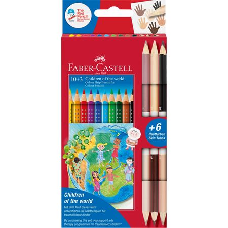 Faber-Castell - Estuche cartón Children of the World 10+3, lápices Grip