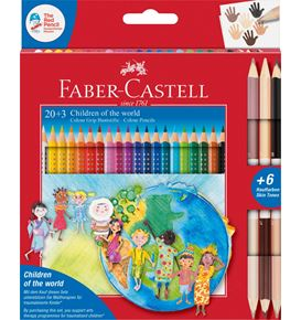 Faber-Castell - Estuche cartón Children of the World 20+3, lápices Grip