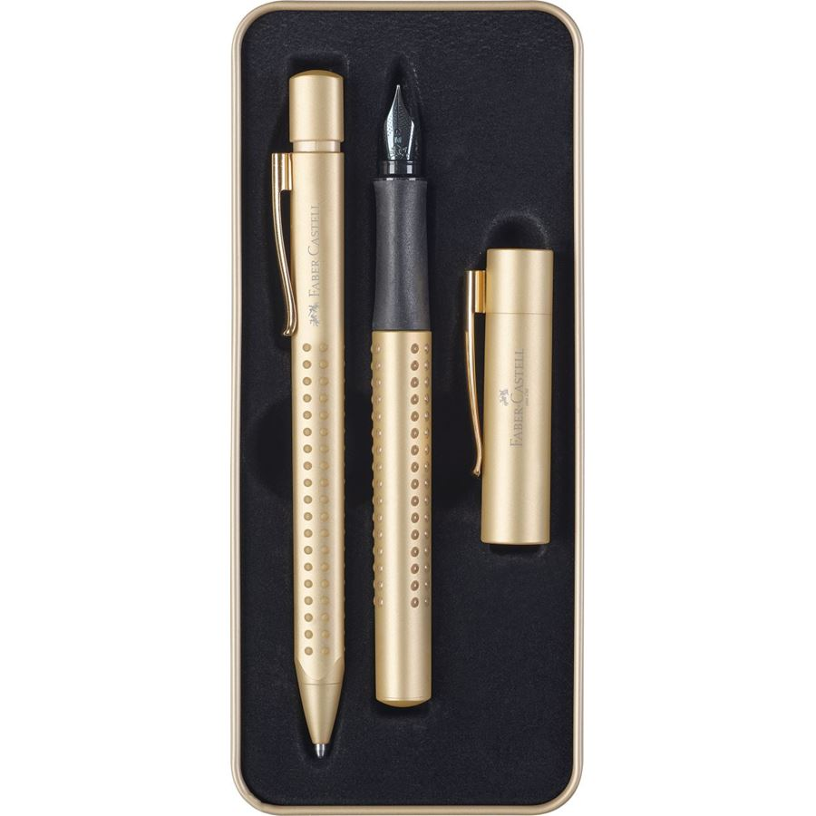 Faber-Castell - Grip Edition color oro, estuche regalo, 2 piezas