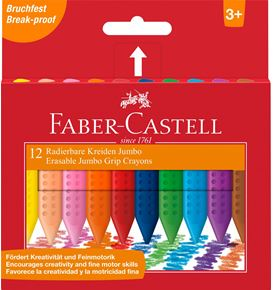 Faber-Castell - Cera borrable triangular Jumbo Grip, estuche cartón, 12 pzs