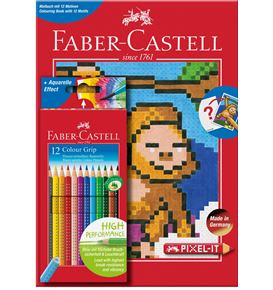 Faber-Castell - Estuche con 12 lápices de color Grip + libro para colorear