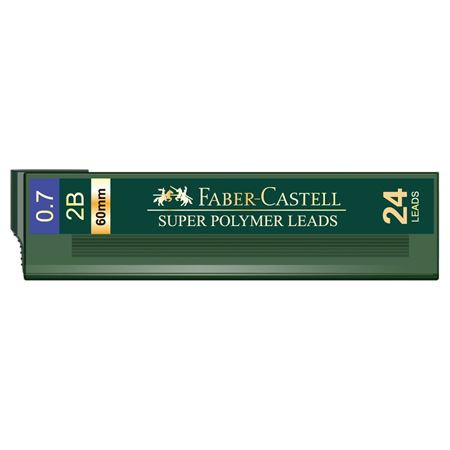 Faber-Castell - Tubo con 24 minas 0,7 mm Super-Polymer 2B