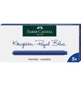 Faber-Castell - 5 Cartuchos de tinta deleble, color azul real
