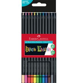 Faber-Castell - Estuche de cartón con 12 lápices de color Black Edition