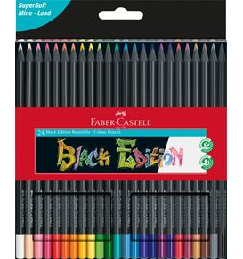Faber-Castell - Estuche de cartón con 24 lápices de color Black Edition