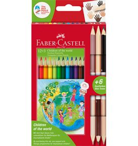 Faber-Castell - Estuche cartón Children of the World 12+3, triangulares