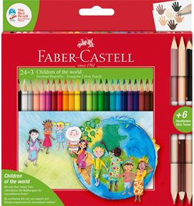 Faber-Castell - Estuche cartón Children of the World 24+3, triangulares